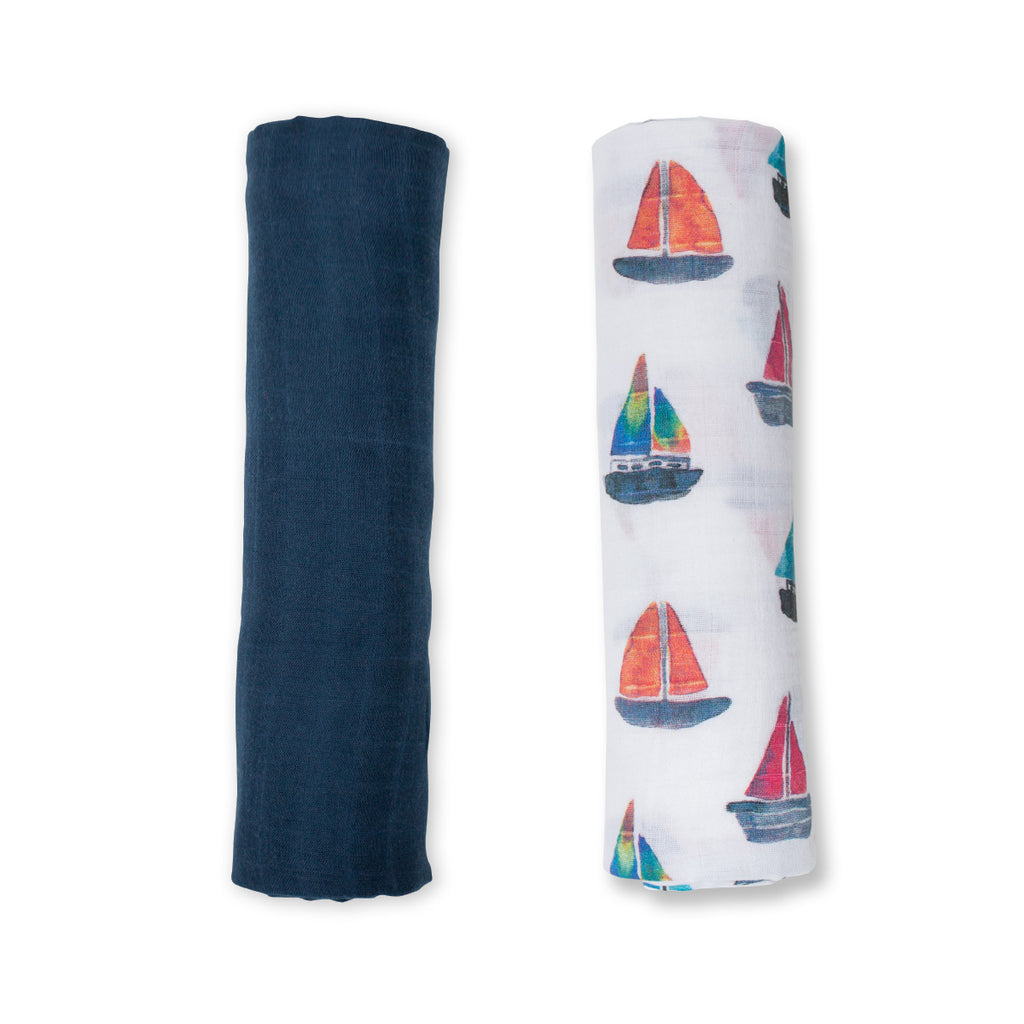 Navy & Sailboat Swaddling Blankets- 2 Pack