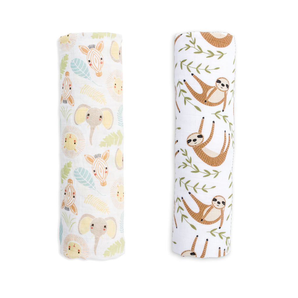 Jungle Safari & Modern Sloth Swaddling Blankets- 2 Pack