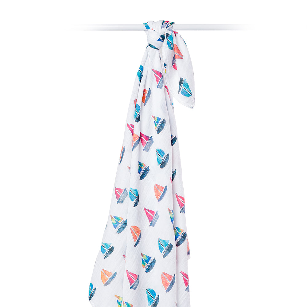 Sailboats Swaddling Blanket