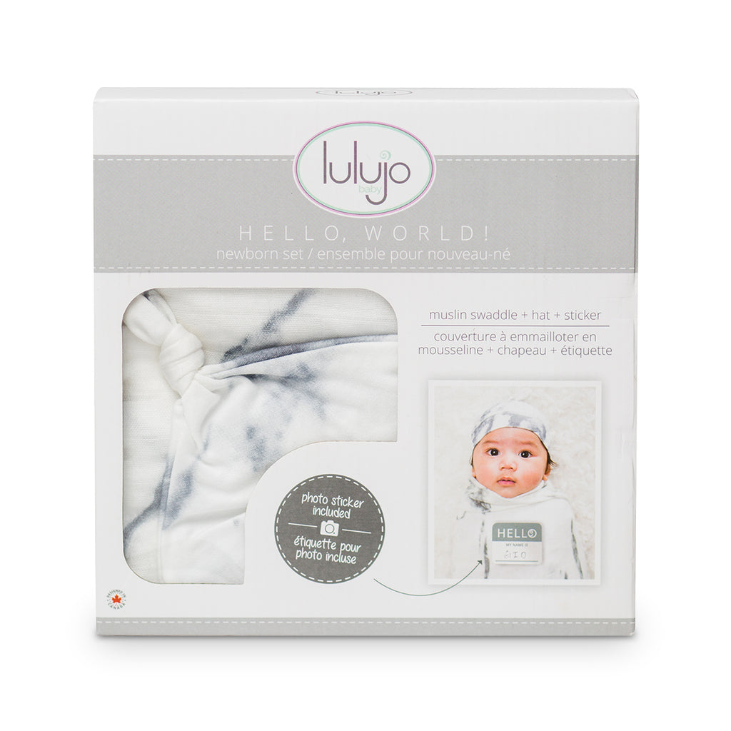 Marble Swaddling Blanket & Matching Hat