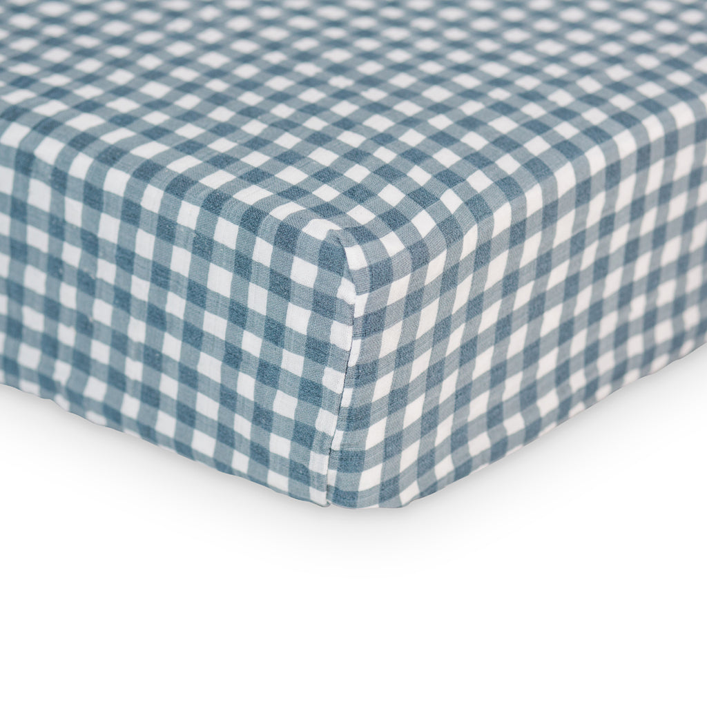 Navy Gingham Crib Sheet