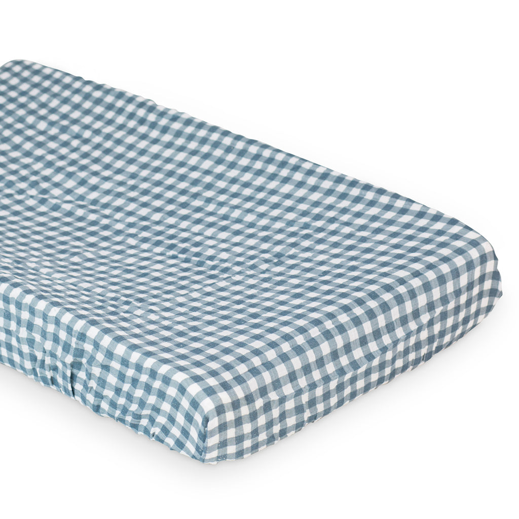 Navy Gingham Change Pad Cover