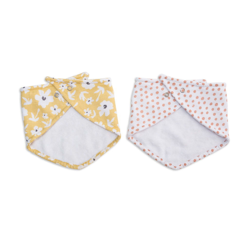 Yellow Wildflowers & Dots Bandana Bibs