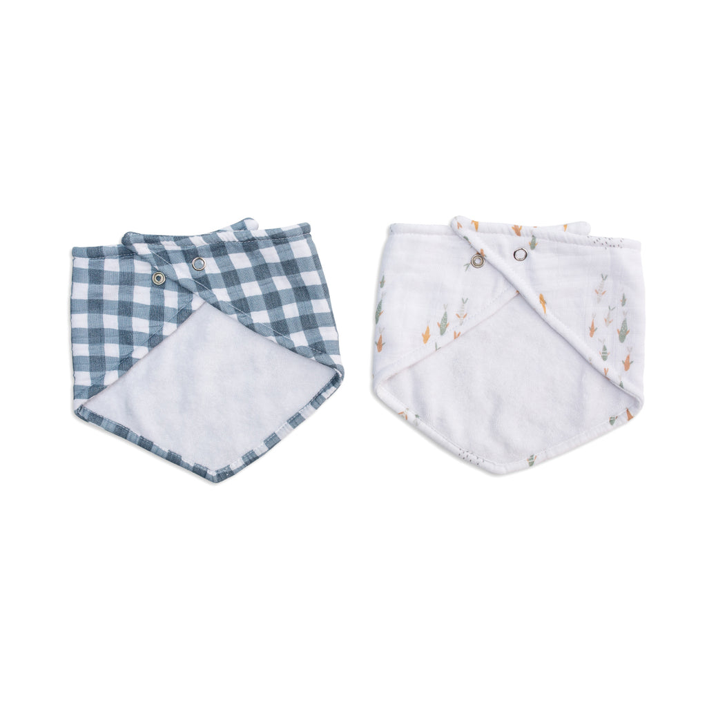 Navy Gingham & Fish Bandana Bibs