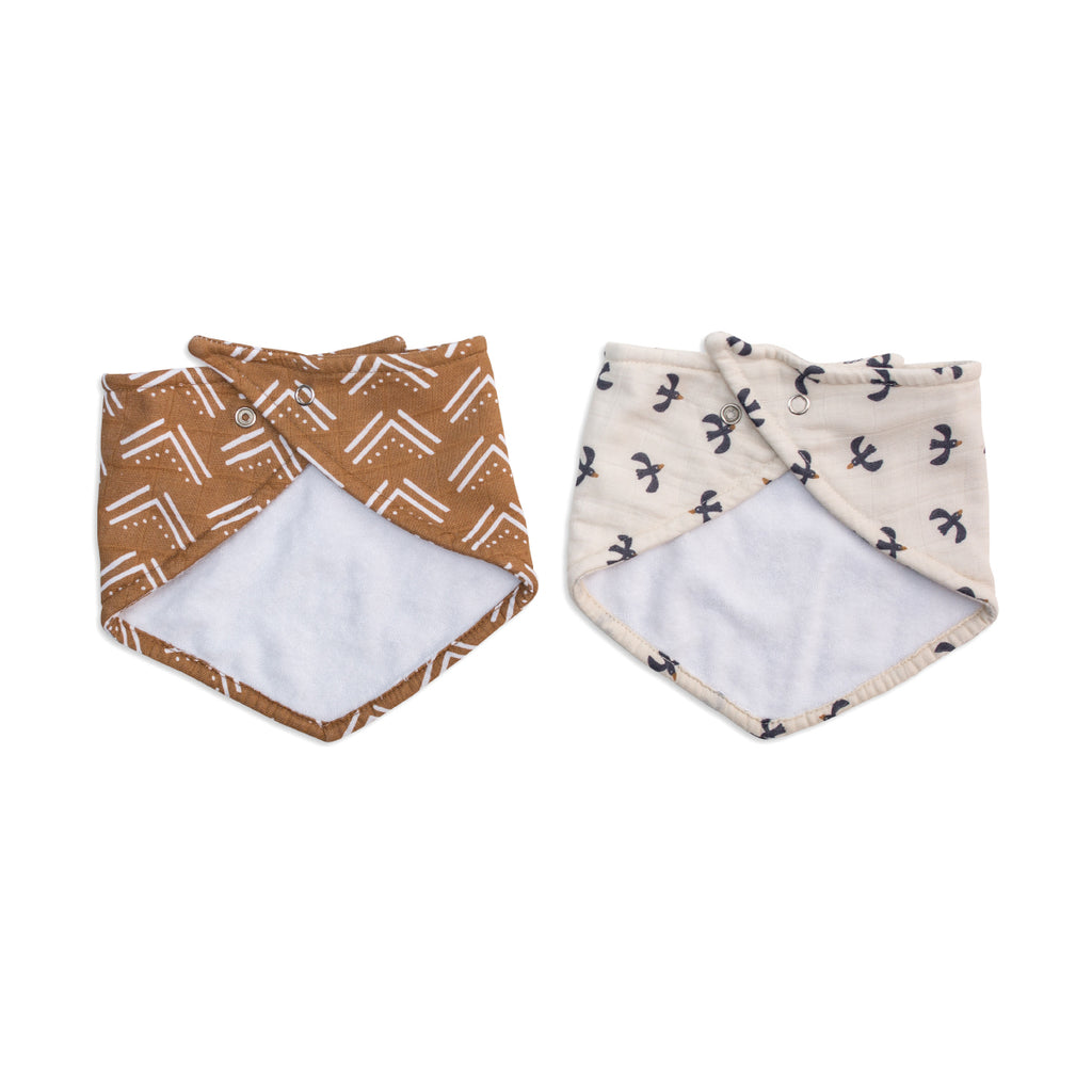 Mud Cloth & Black Birds Bandana Bibs