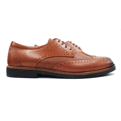 Derby brogue en Cuir Tabac