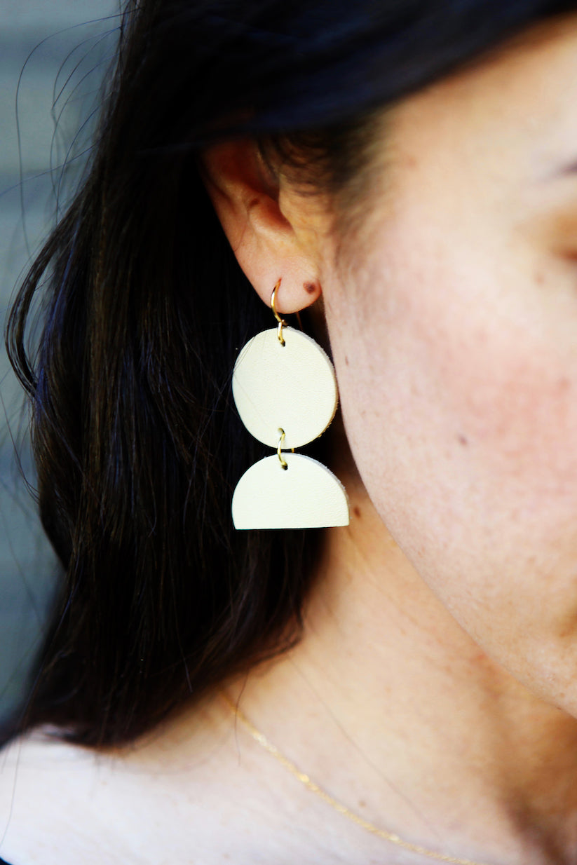 oversized geometric leather earrings