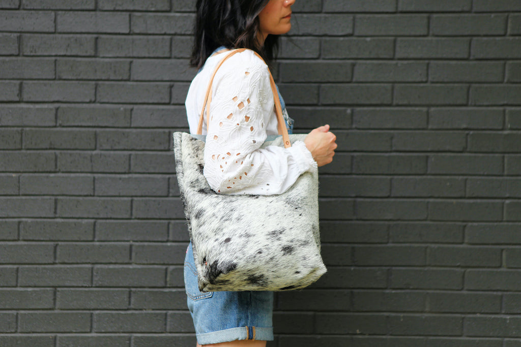 the original tote, black + white speckled hide