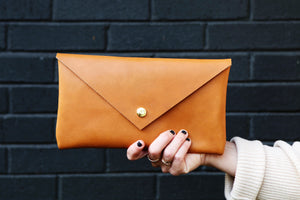 the envelope clutch, leather
