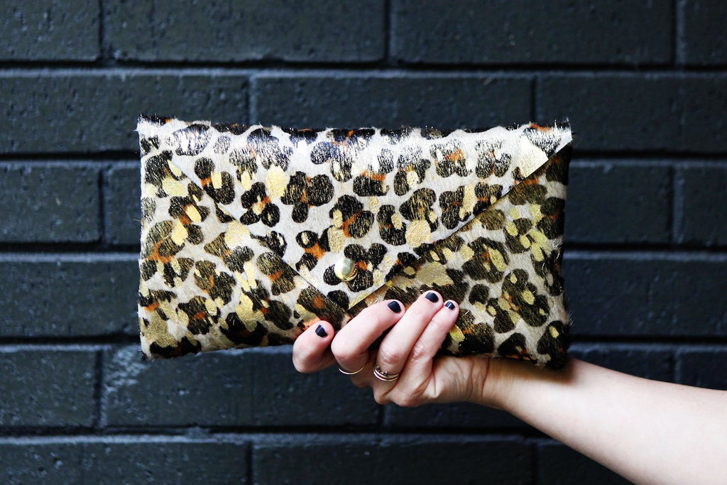 the envelope clutch, gold flecked leopard print