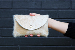 the medium snap pouch, hair-on-hide