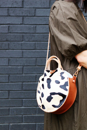 the roundabout crossbody, oversized leopard hide