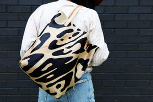 the original tote, oversized leopard black + tan hide