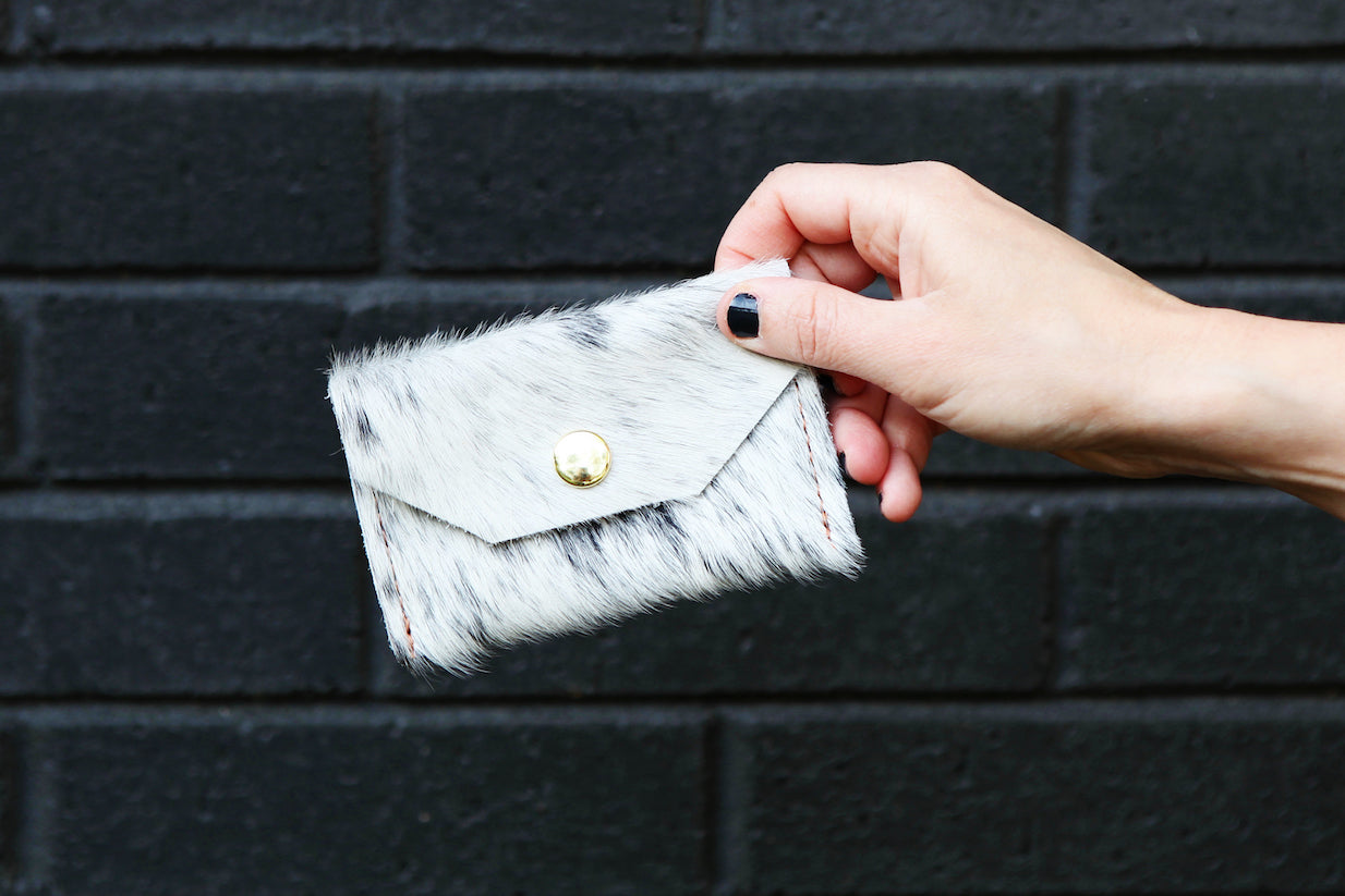 the small snap pouch, hair-on-hide