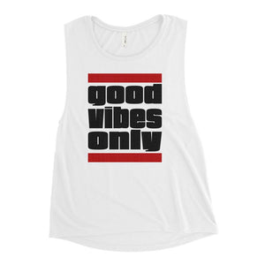 GOOD VIBES ONLY | Women's Scoop Tank EAST OF ALTA White S