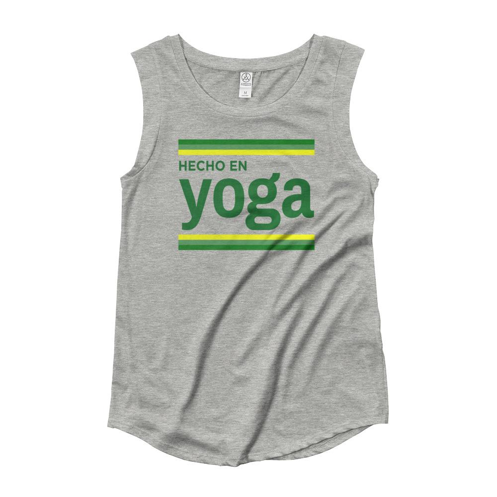 HECHO EN YOGA | Women's Cap Sleeve Tank Kundalini Market Heather Grey S