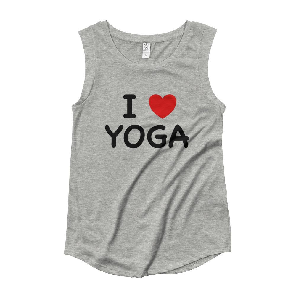 I HEART YOGA | Cap Sleeve Tank Kundalini Market Heather Grey S
