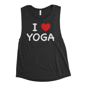 I HEART YOGA | Scoop Tank Kundalini Market Black Heather S
