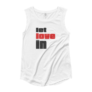 LET LOVE IN | Women's Cap Sleeve Tank EAST OF ALTA White S