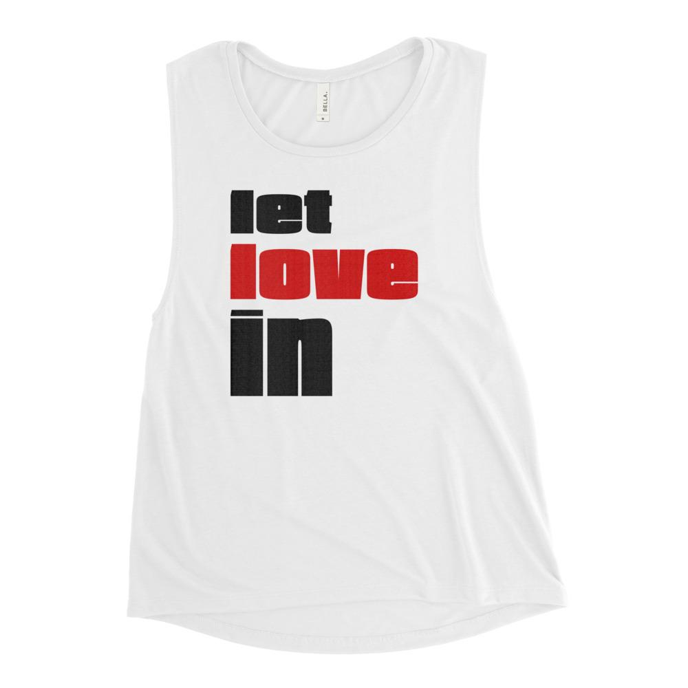 LET LOVE IN | Women's Scoop Tank EAST OF ALTA White S