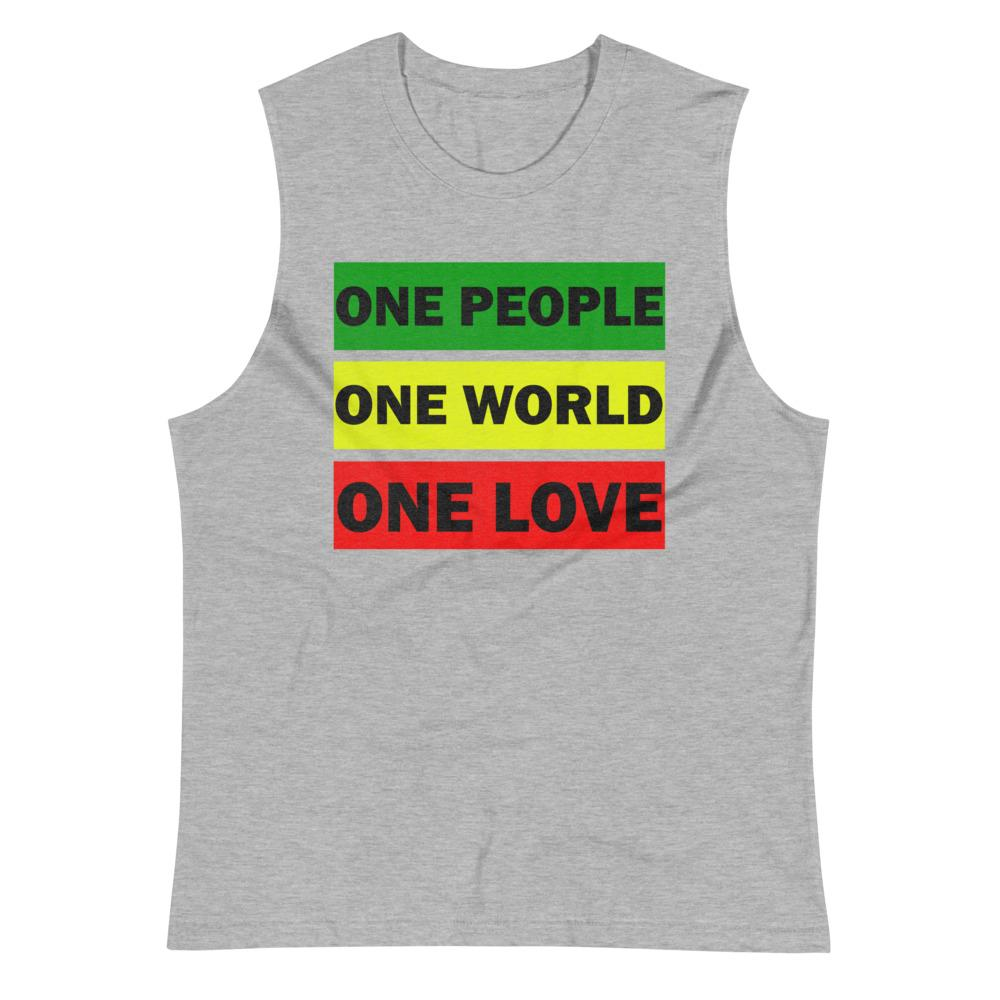 ONE WORLD ONE LOVE | Men's Muscle Shirt EAST OF ALTA Athletic Heather S