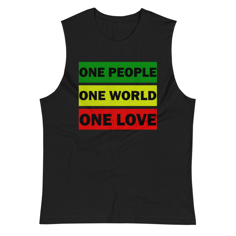 ONE WORLD ONE LOVE | Men's Muscle Shirt EAST OF ALTA Black S