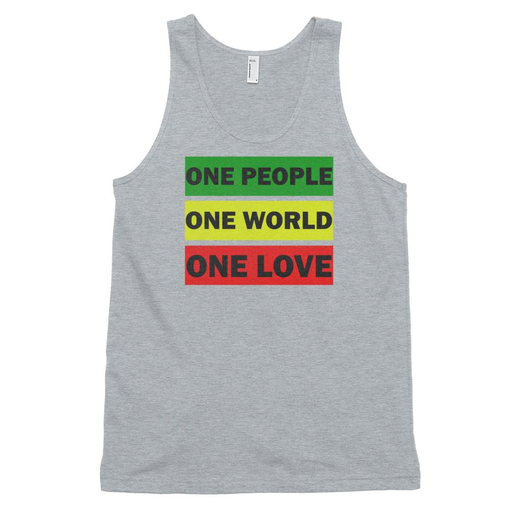 ONE WORLD ONE LOVE | Men's Tank Top EAST OF ALTA Heather Grey XS