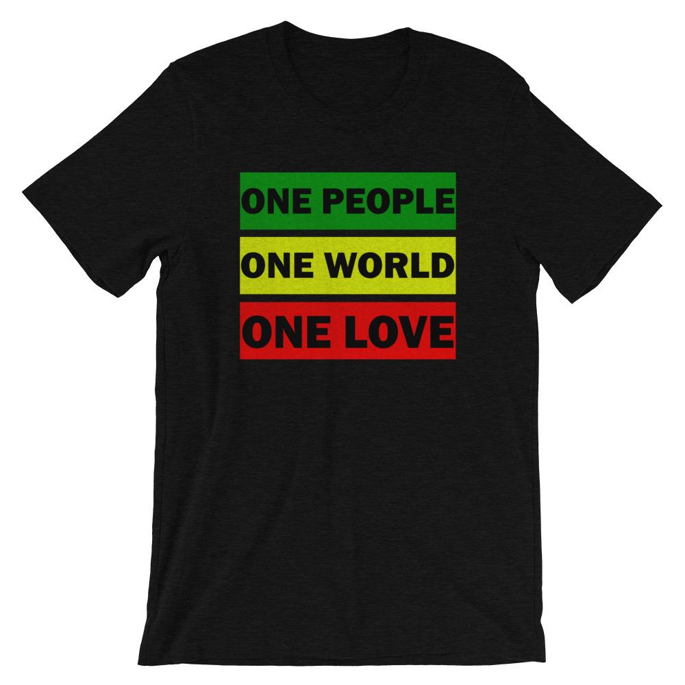 ONE WORLD ONE LOVE | Men's Tee EAST OF ALTA Black Heather XS