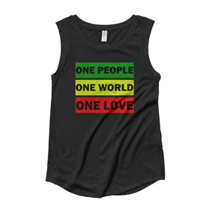 ONE WORLD ONE LOVE | Women's Cap Sleeve Tank EAST OF ALTA Black S