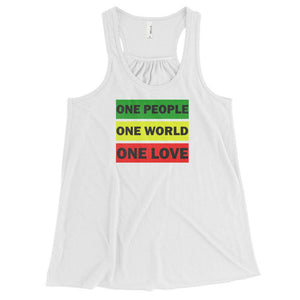 ONE WORLD ONE LOVE | Women's Racerback Tank EAST OF ALTA White XS