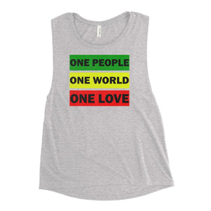 ONE WORLD ONE LOVE | Women's Scoop Tank EAST OF ALTA Athletic Heather S