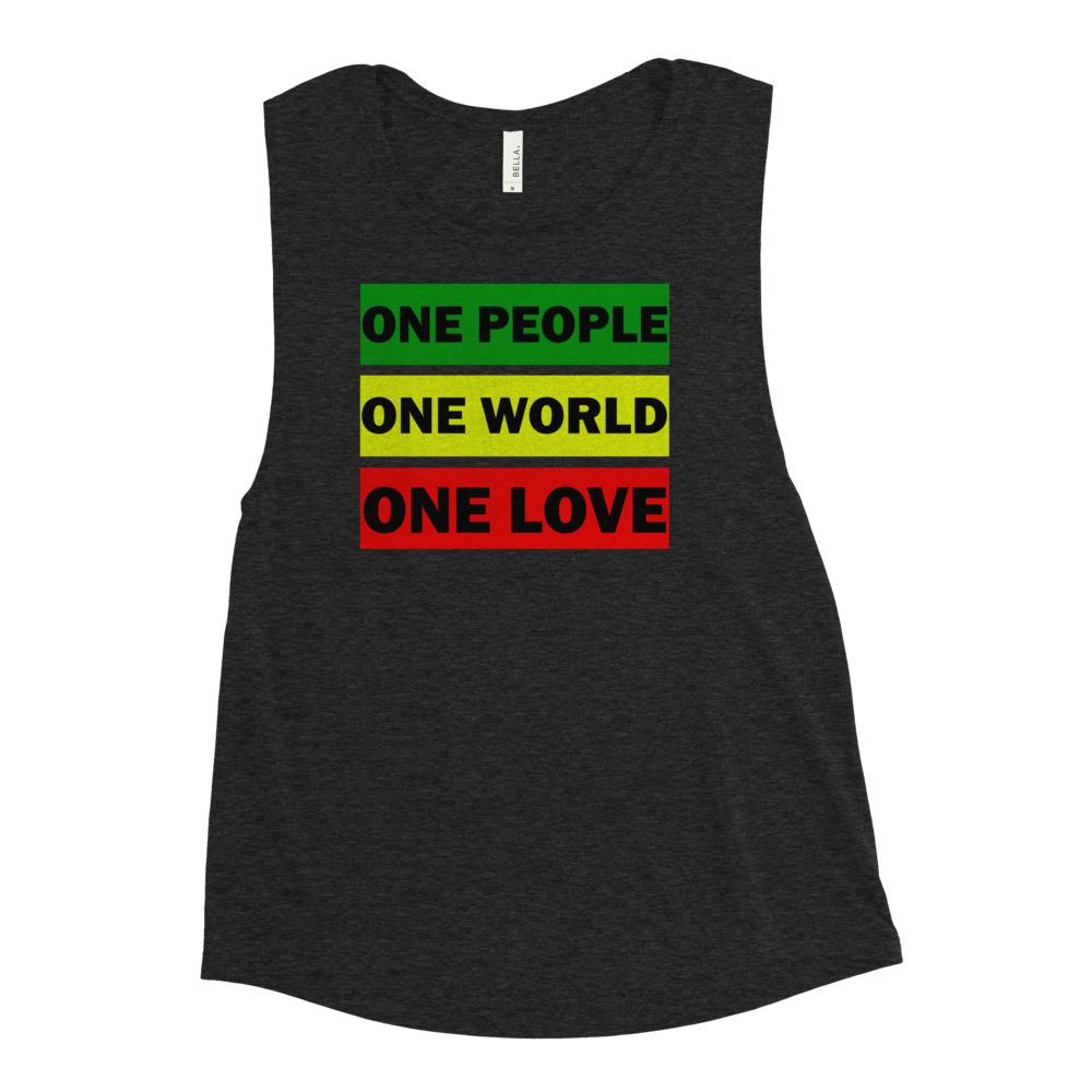 ONE WORLD ONE LOVE | Women's Scoop Tank EAST OF ALTA Black Heather S