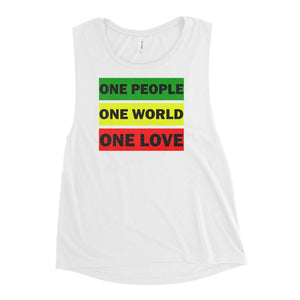 ONE WORLD ONE LOVE | Women's Scoop Tank EAST OF ALTA White S