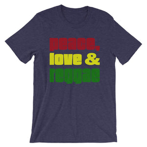 PEACE LOVE REGGAE | Men's Tee EAST OF ALTA Heather Midnight Navy S