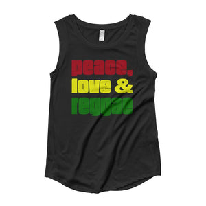 PEACE LOVE REGGAE | Women's Cap Sleeve Tank EAST OF ALTA Black S