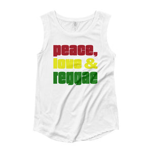 PEACE LOVE REGGAE | Women's Cap Sleeve Tank EAST OF ALTA White S