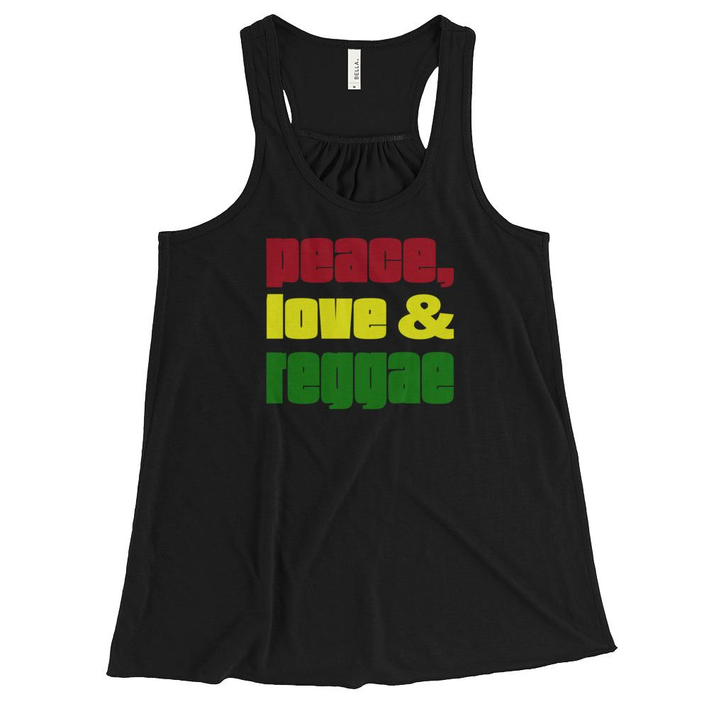 PEACE LOVE REGGAE | Women's Racerback Tank EAST OF ALTA Black XS