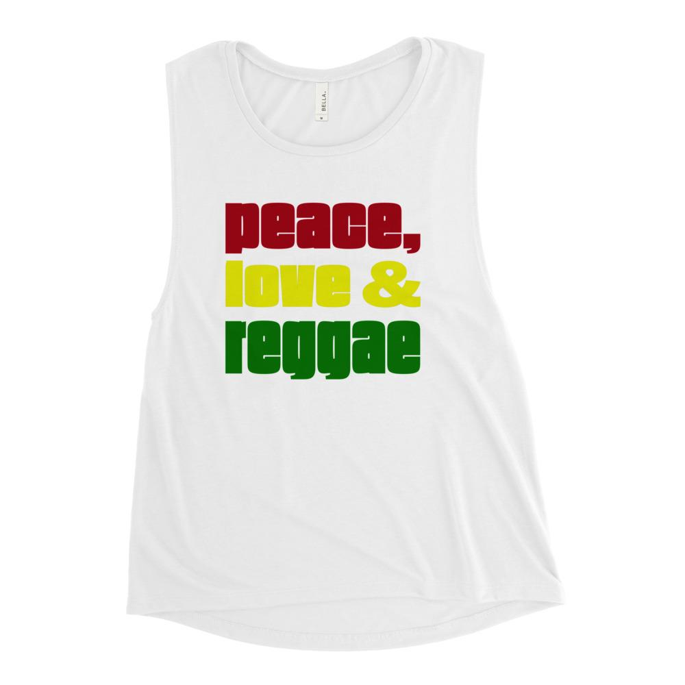 PEACE LOVE REGGAE | Women's Scoop Tank EAST OF ALTA White S