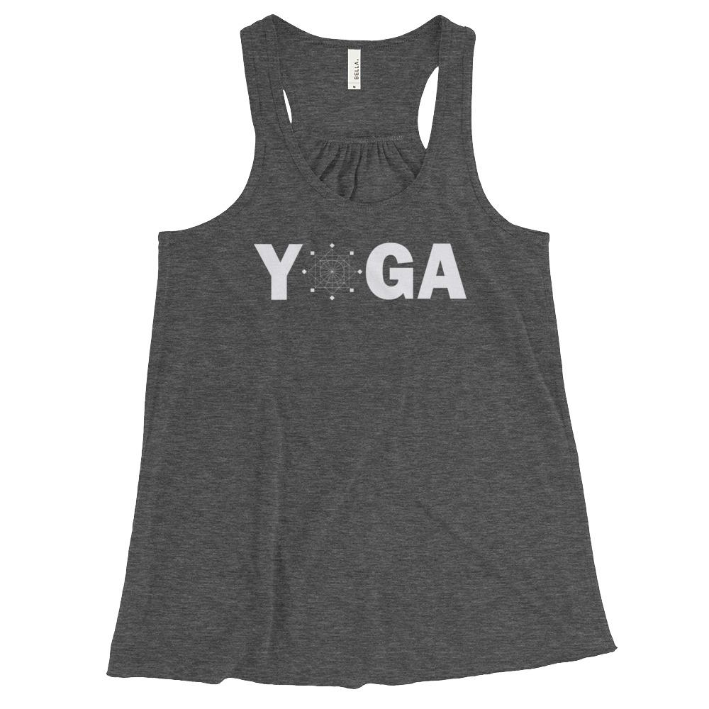 SACRED GEOMETRY YOGA | Racerback Tank Kundalini Market Dark Grey Heather XS