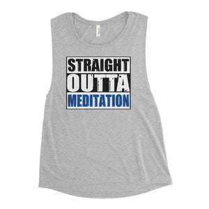 STRAIGHT OUTTA MEDITATION | Scoop Tank Kundalini Market Athletic Heather S