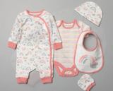 baby clothes in coral rainbow design