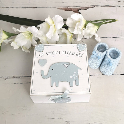 Baby Boy, My Special Keepsake, Welcome To The World 'Baby Boy' Gift Hamper, Knit Booties, Keepsake Box, Gift Card, Maternity Gift, New Mum