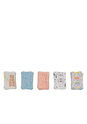 Lot de 5 lingettes lavables bleu - Spoted
