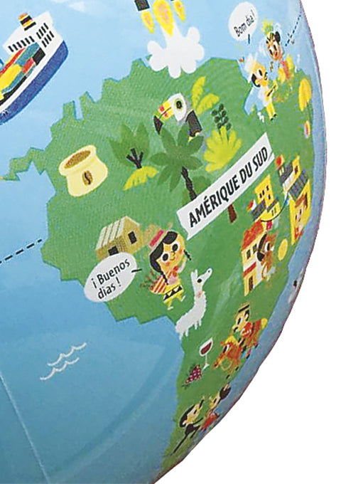 Petits voyageurs 30 cm Globe terrestre gonflable - Spoted