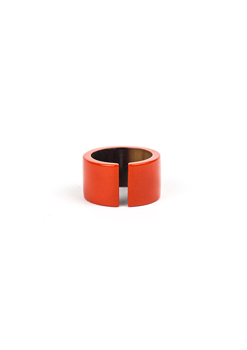 Bague Jonque en corne blonde et laque orange - Spoted