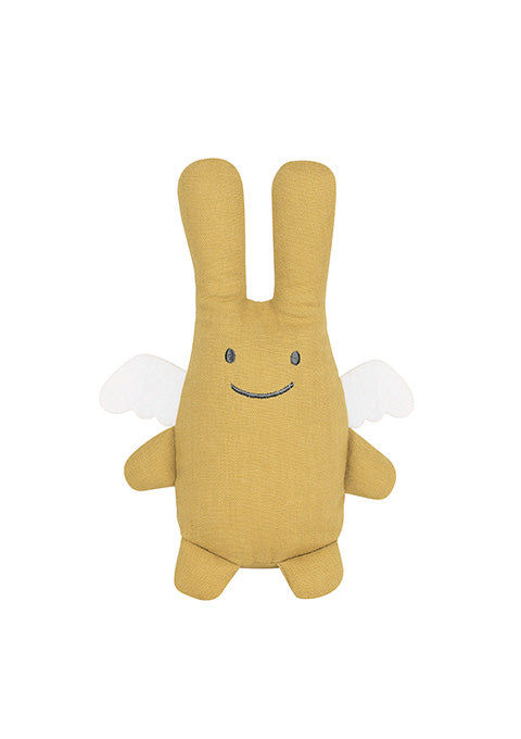 Ange Lapin Doudou - Lin Moutarde 20Cm