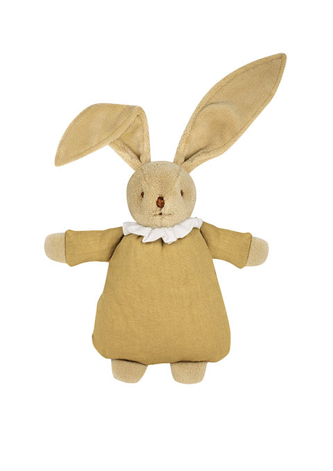 Lapin Nid d'Ange Doudou - Lin Moutarde 20Cm