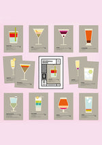 Etui 12 cartes postales Cocktails vintage - Spoted