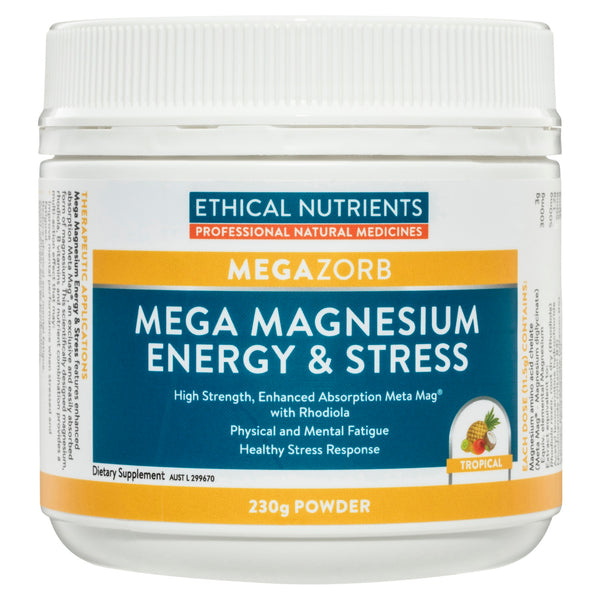 Ethical Nutrients - Megazorb Mega Magnesium Energy and Stress Tropical 230g Powder