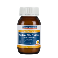 Ethical Nutrients - Megazorb Mega Zinc 40mg with Vitamin C (Orange) 95g powder